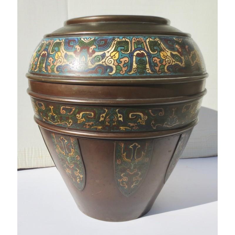 Oversize Japanese Champleve Enamel Bronze Vase