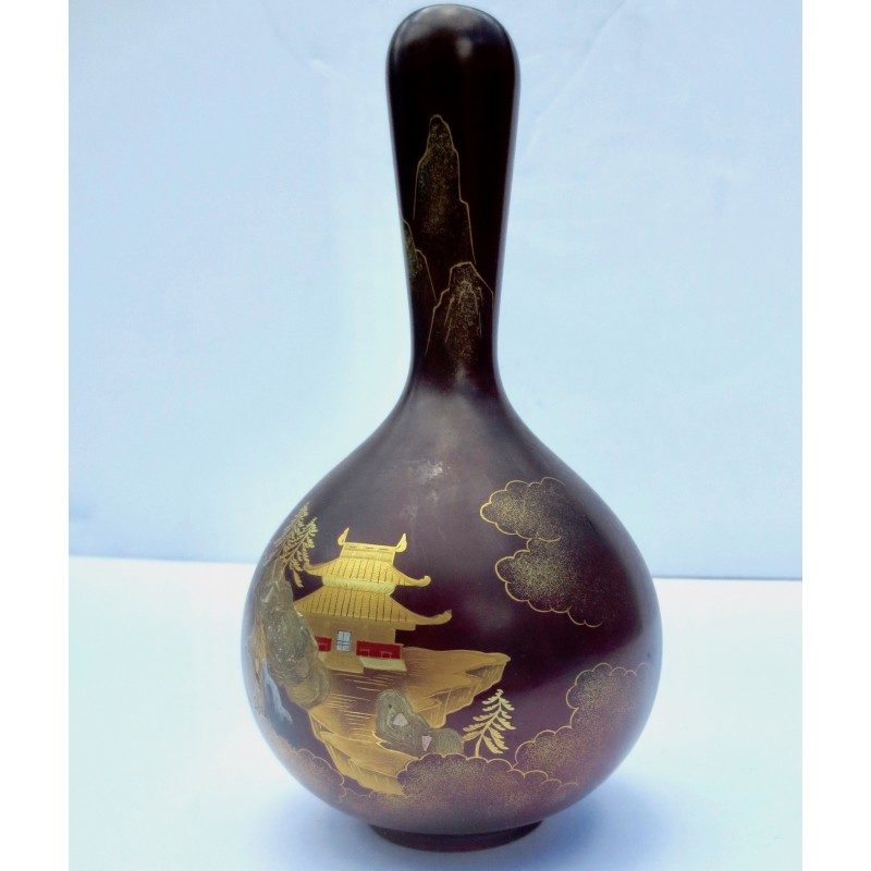 Occupied Japan Painted Lacquer Bronze Vase